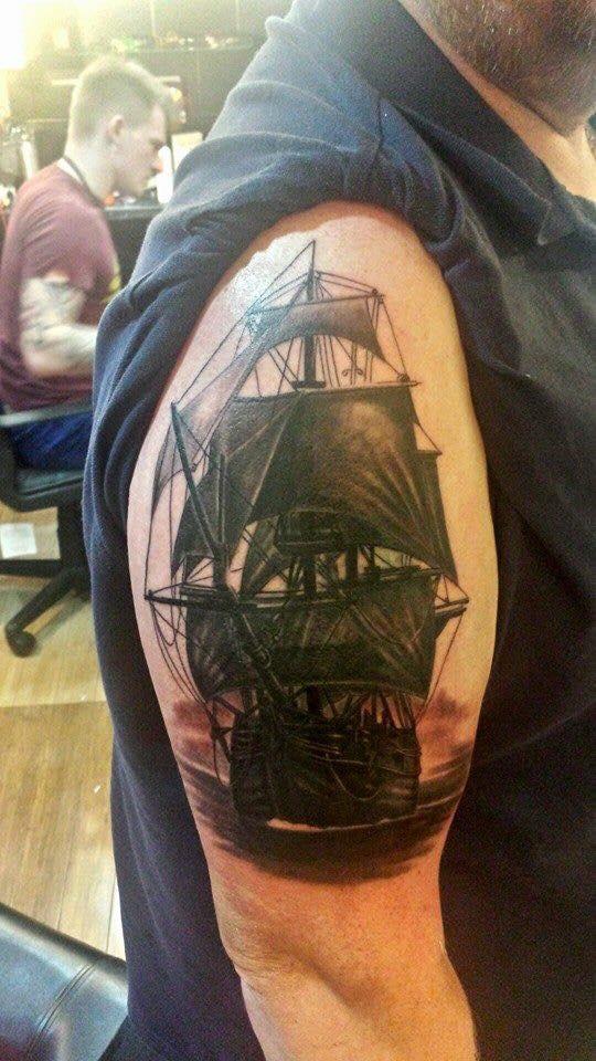 sea boat tattoo