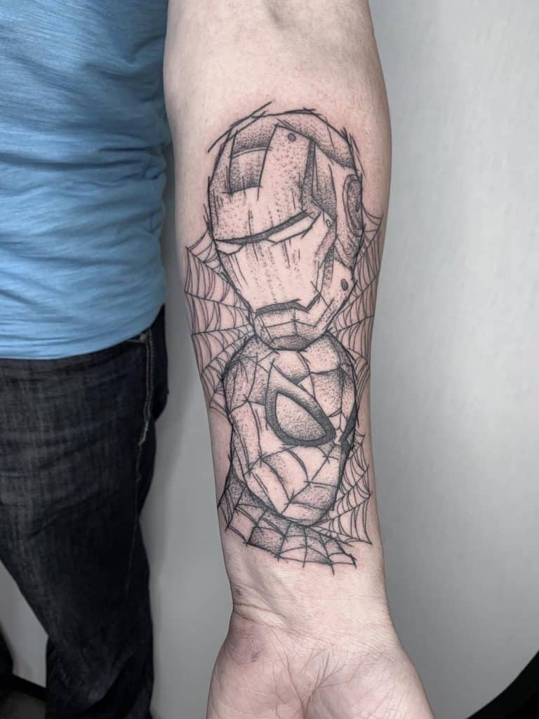 Dotwork Ironman and Spiderman tattoo